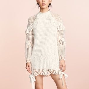 Self Portrait High Neck Crochet Mini Lace Dress S